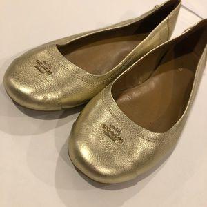 Coach gold ballet flats 9.5
